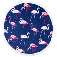 Round Beach Towel with Fringing - Flamingo