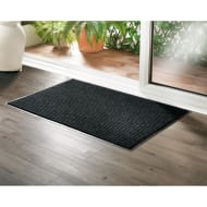 Addis Large Ribbed Dirt Grabber Doormat - Black