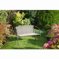 Venice Rattan Effect Bench - Brown