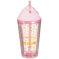 Plastic Ice Cream Cup with Straw - Daydreams