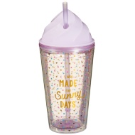 Plastic Ice Cream Cup with Straw - Sunny Days