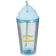 Plastic Ice Cream Cup with Straw - Sprinkles of Sunshine