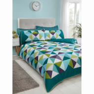 Geo Triangles Double Duvet Cover - Green