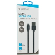 Goodmans Mini USB Metal Charging Cable - Black