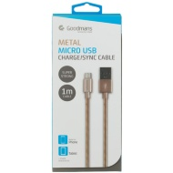 Goodmans Mini USB Metal Charging Cable - Gold