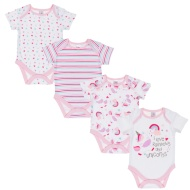 Pink Baby Bodysuit 4pk - Unicorns