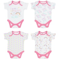 Pink Baby Bodysuit 4pk - Rainbows & Unicorns