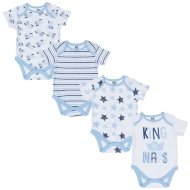 Blue Baby Bodysuit 4pk - King of Naps