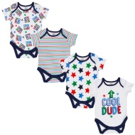 Blue Baby Bodysuit 4pk - Cool Dude