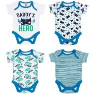 Blue Baby Bodysuit 4pk - Daddy's Little Hero