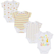 White Baby Bodysuit 4pk - Cute & Cuddly