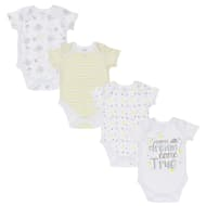 White Baby Bodysuit 4pk - Dream Come True