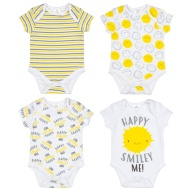 White Baby Bodysuit 4pk - Happy Smiley Me