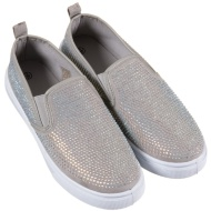 Ladies Jewel Canvas Shoes - Grey