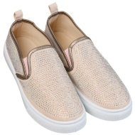 Ladies Jewel Canvas Shoes - Nude