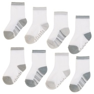 Baby Gripper Socks 8pk - Grey