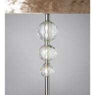 Luxe Crystal Floor Lamp with Velvet-Look Shade - Champagne