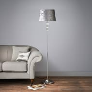 Luxe Crystal Floor Lamp with Velvet-Look Shade - Silver