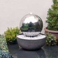 Stainless Steel Light Up Gazing Ball Water Feature