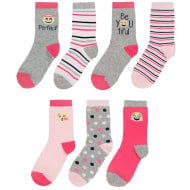 Kids Pink Smiley Socks 7pk