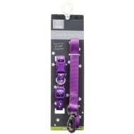 Dog Collar & Lead Set - Purple Stars