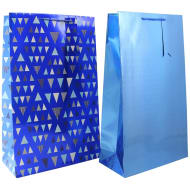 XL Holographic Gift Bag 2pk - Blue