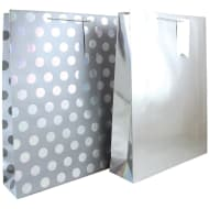 XL Holographic Gift Bag 2pk - Silver
