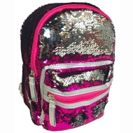 Mini Sequin Backpack - Pink to Silver