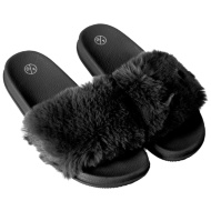 Ladies Fluffy Sliders - Black