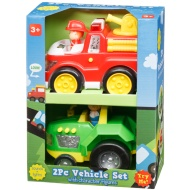 Vehicle Set 2pk - Fire Engine & Tractor