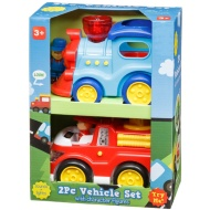 Vehicle Set 2pk - Train & Fire Engine