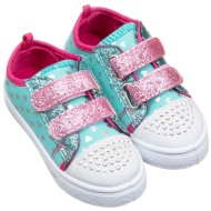 Kids Velcro Bling Canvas - Turquoise Denim