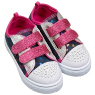 Kids Velcro Bling Canvas - Blue Denim