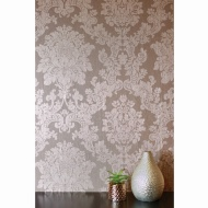 Velvet Damask Wallpaper - Rose Gold