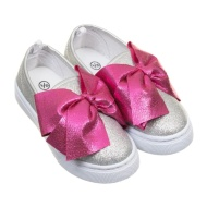 Younger Girl Bow Canvas Shoes - Silver
