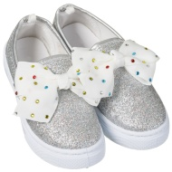 Older Girl Bow Canvas Shoes - Silver