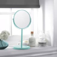Large Cosmetic Mirror on Stand - Aqua