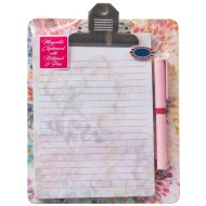 Magnetic Clipboard & Notepad - Floral