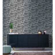 Distressed Foil Wallpaper - Black