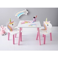 Unicorn Wooden Table & 2 Chairs