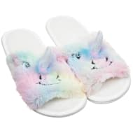 Ladies Open Toe Unicorn Slippers - Multi-Colour