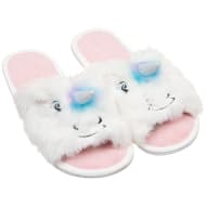 Ladies Open Toe Unicorn Slippers - White