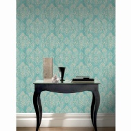Arley Damask Wallpaper - Blue