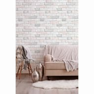 Glitter Brick Wallpaper - Blush