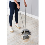 Addis Premium Long Handle Dustpan & Brush - Grey