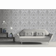 Isabella Damask Wallpaper - Silver