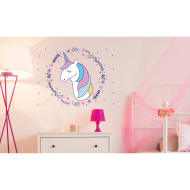 Unicorn Wall Sticker - Flowers