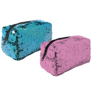 Reversible Sequin Pencil Case - Blue to Pink