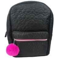 Quilted Backpack - Black & Pink
