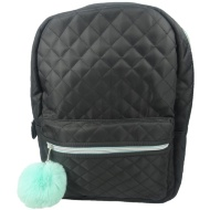 Quilted Backpack - Black & Teal